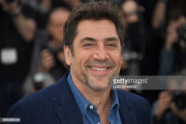 Spanish actor Javier Bardem poses on May 9 2018 during a photocall for the film Todos Lo Saben at the 71st edition of the Cannes Film Festival in...