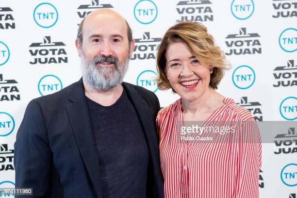 Spanish actor Javier Camara and actress Maria Pujalte attend the 'Vota Juan' photocall at Palace Hotel on June 14 2018 in Madrid Spain