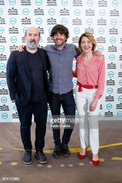 Spanish actor Javier Camara screenwriter Diego San Jose Castellano and actress Maria Pujalte attend the 'Vota Juan' photocall at Palace Hotel on June...