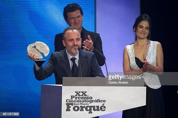 Spanish actor Javier Gutierrez receives the Jose Maria Forque Award for best actor for his film La Isla Minima during the 20th Jose Maria Forque...