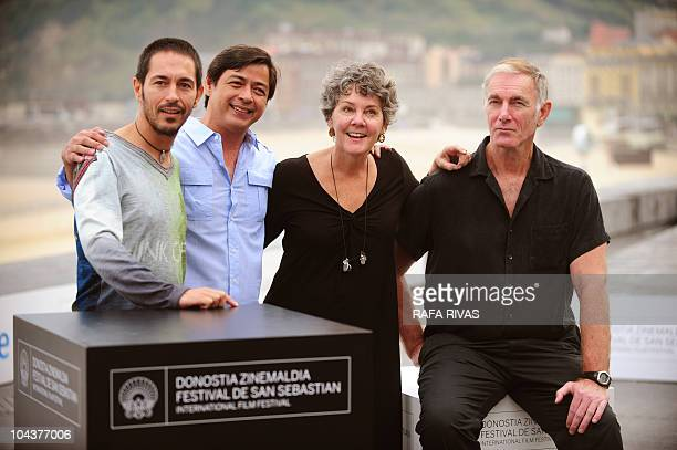 Spanish actor Jemi Paretas, actor and producer Joel Torre from The Philippines, producer Maggie Renzi and US director John Sayles, pose during a...