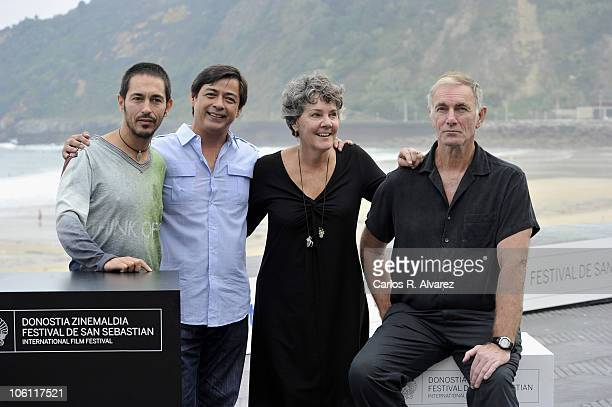"Spanish actor Jemi Paretas, actor Joel Torre, producer Maggie Renzi and director John Sayles attend ""Amigo"" photocall during the 58th San Sebastian..."