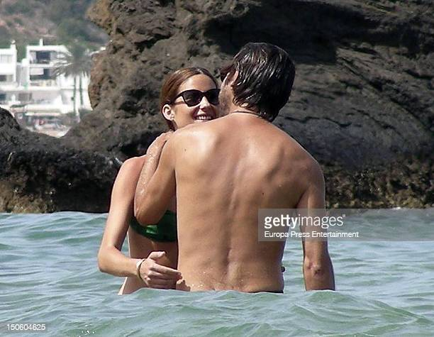 Spanish actor Jordi Molla and his girlfriend are seen on August 9 2012 in Ibiza Spain