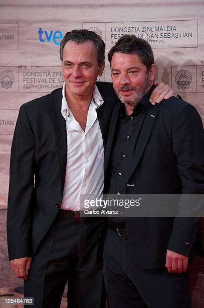 """Spanish actor Jose Coronado and director Enrique Urbizu attend """"No Habra Paz Para Los Malvados"""" premiere at the Kursaal Palace during the 59th San..."""