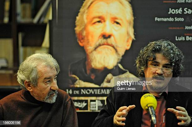 Spanish actor Jose Sacristan and playwright Jose Ramon Fernandez attend the press conference for 'Yo soy Don Quijote de la Mancha' play at Espanol...