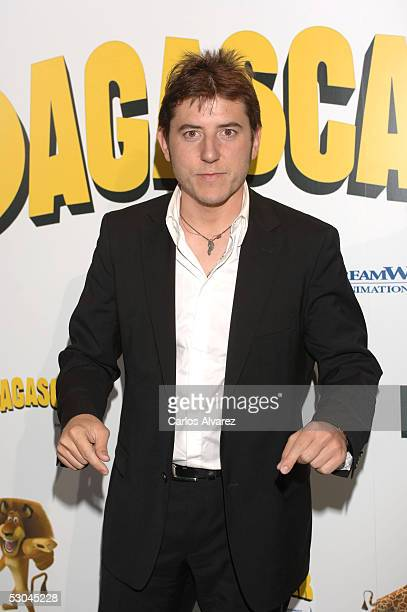 Spanish actor Manel Fuentes gestures as he attends the Spanish premiere for 'Madagascar' at Palacio de la Musica cinema on June 9 2005 in Madrid Spain