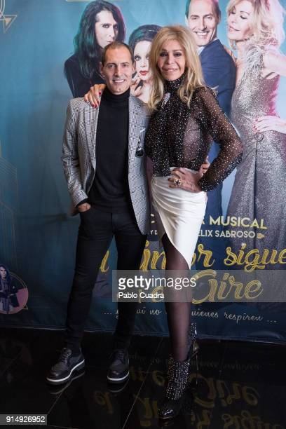Spanish actor Manuel Bandera and actress Bibiana Fernandez attend the 'El Amor Sigue En El Aire' photocall at Vincci Capitol Hotel on February 6 2018...