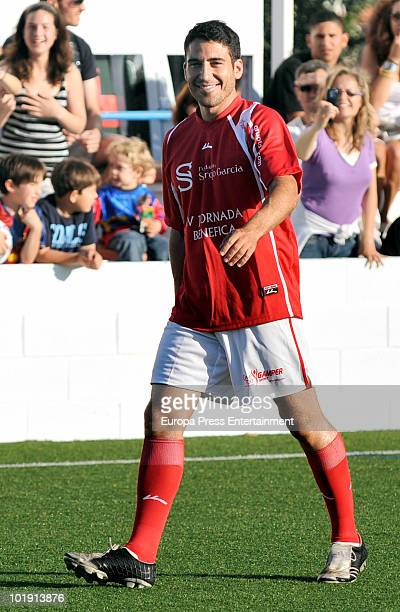 Spanish actor Miguel Angel Silvestre playing at charity football match organised by Sergio Garcia Foundation on June 4, 2010 in Castellon de la...