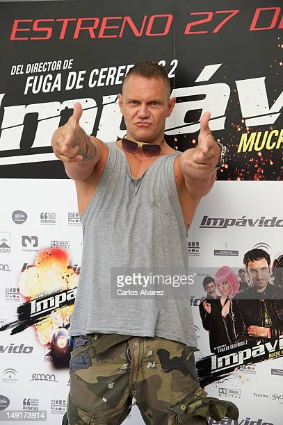 "Spanish actor Nacho Vidal attends ""Impavido"" photocall at Academia de Cine on July 24, 2012 in Madrid, Spain."
