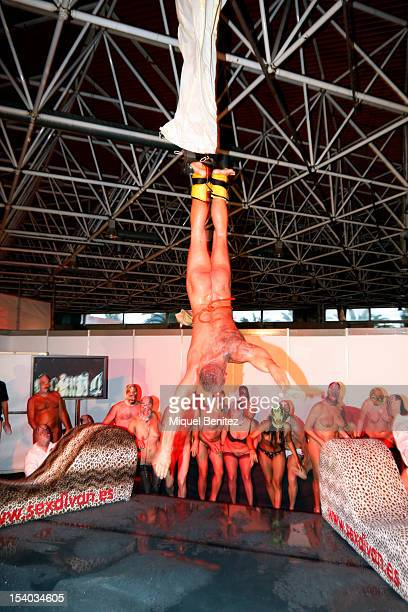Spanish actor Nacho Vidal performs Babylon Opera with La Fura dels Baus at the Barcelona Erotic Fair on October 12 2012 in Barcelona Spain