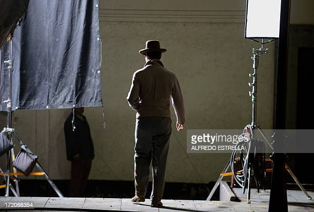 "Spanish actor Oscar Jaenada characterized as Mexican comic ""Cantinflas"" during the shooting of the called ""Cantinflas"" in Mexico City on June 28,..."
