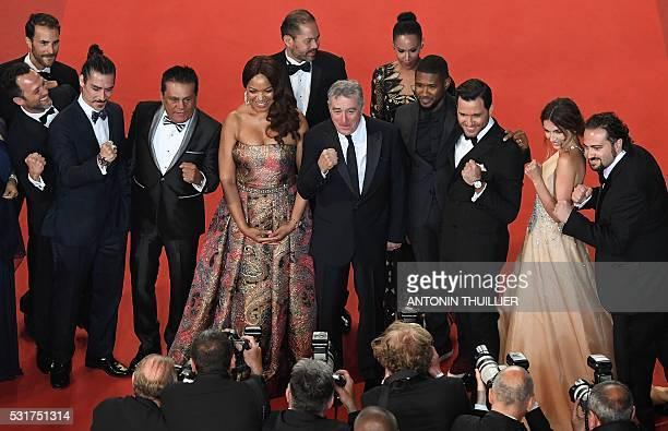 Spanish actor Oscar Jaenada, Panamanian boxer Roberto Duran, US actor Robert de Niro and his wife Grace Hightower, US actor Usher and his wife Grace...