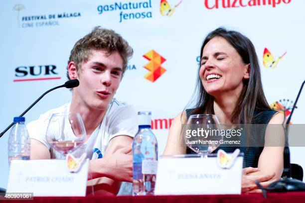 Spanish actor Patrick Criado and Spanish actress Elena Anaya attend a press conference during the 17th Malaga Film Festival 2014 at Teatro Cervantes...