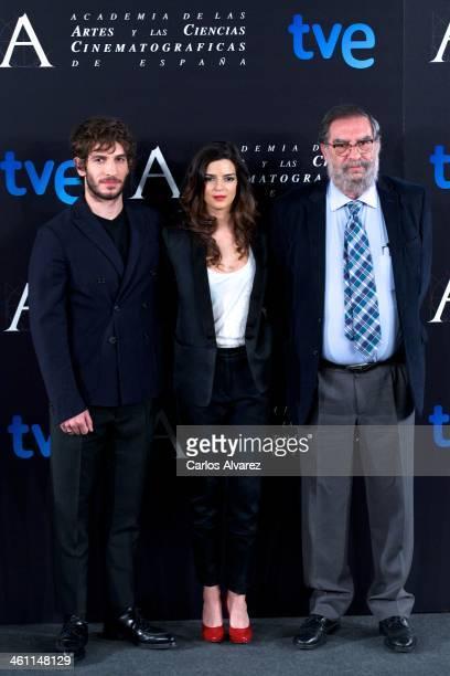 Spanish actor Quim Guitierrez Spanish actress Clara Lago and President of Spanish Cinema Academy Enrique Gonzalez Macho attend the Goya Film Awards...