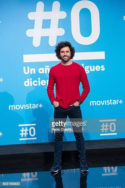 Spanish actor Raul Gomez attends a photocall for the 'Movistar channel' first anniversary at 'Movistar' Studios on January 31 2017 in Madrid Spain