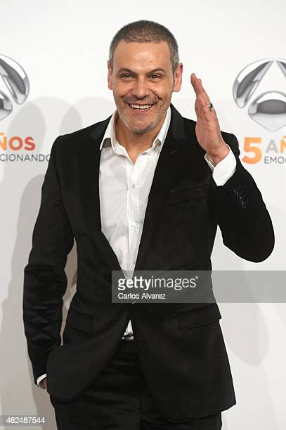 Spanish actor Roberto Enriquez attends Antena 3 TV Channel 25th anniversary party at the Palacio de Cibeles on January 29 2015 in Madrid Spain