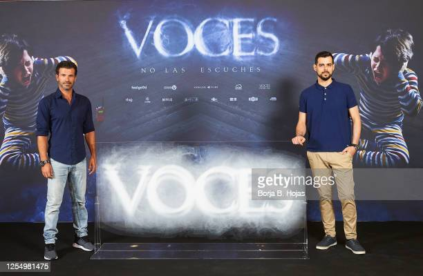 Spanish actor Rodolfo Sancho and spanish director Ángel Gomez during photocall of 'Voces' film at Cines Verdi on July 08 2020 in Madrid Spain