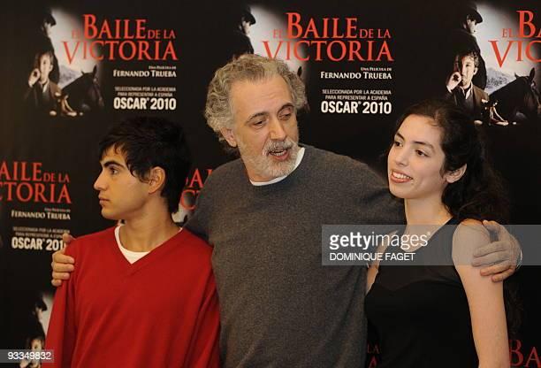 Spanish actors Abel Ayala Spanish film director Fernando Trueba and Chilean actress Miranda Bodenhofer pose during a photocall of Trueba's new movie...