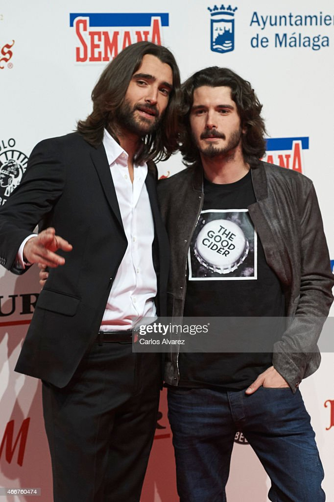 Spanish actors Aitor Luna (L) and Yon Gonzalez (R) attend the Malaga Film Festival cocktail presentation at Circulo de Bellas Artes on March 18, 2015 in Madrid, Spain.