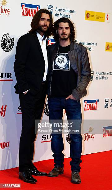 Spanish actors Aitor Luna and Yon Gonzalez attend the Malaga Film Festival cocktail presentation at Circulo de Bellas Artes on March 18 2015 in...
