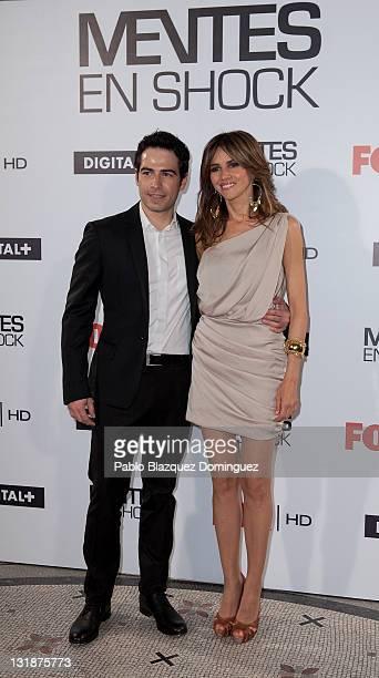 Spanish actors Alejandro Tous and Goya Toledo present 'Mentes en Shock' at Casa de America on March 23 2011 in Madrid Spain