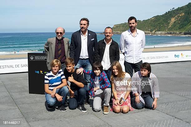 Spanish actors Alex Angulo Javier Cifrian Javier Gutierrez Oskar Santos Raul Rivas Dani Cerezo Marcos Ruiz Claudia Vega and Fran Garcia attend the...