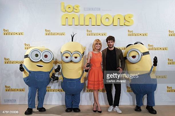 Spanish actors Alexandra Jimenez and Quim Gutierrez attend 'The Minions' photocall at the Hesperia Hotel on July 1 2015 in Madrid Spain