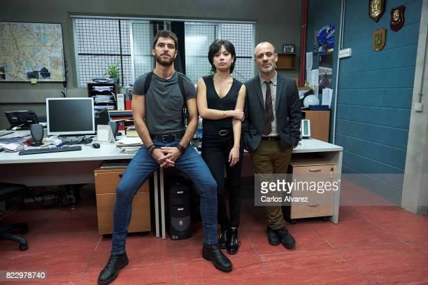 Spanish actors Alfonso Bassave Anna Castillo and Javier Gutierrez attend 'Estoy Vivo' presentation on July 26 2017 in Madrid Spain