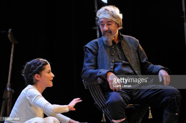 Spanish actors Almudena Ramos and Jose Sacristan perform during the dress rehearsal of 'Yo soy Don Quijote de la Mancha' play at Espanol Theatre on...