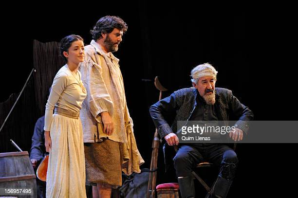 Spanish actors Almudena Ramos Fernando Soto and Jose Sacristan perform during the dress rehearsal of 'Yo soy Don Quijote de la Mancha' play at...