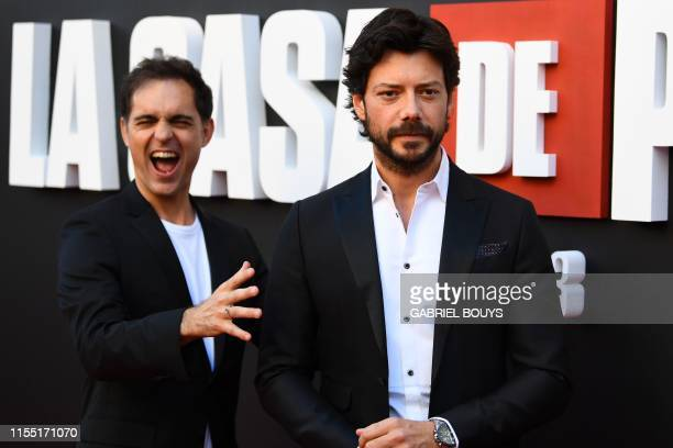 Spanish actors Alvaro Morte and Pedro Alonso pose during a photocall for the presentation of Spanish TV show La Casa de Papel 3rd season on July 11...