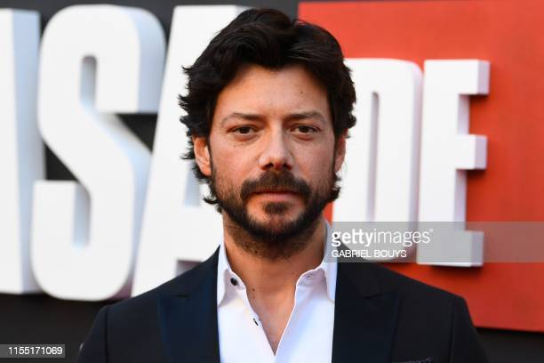 Spanish actors Alvaro Morte poses during a photocall for the presentation of Spanish TV show La Casa de Papel 3rd season on July 11 2019 in Madrid
