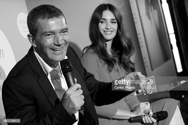 """Spanish actors Antonio Banderas and Paz Vega present the new fragance """"Her Golden Secret"""" at the Cervantes Institute on September 10, 2013 in Madrid,..."""