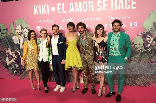 Spanish actors Candela Pena Maria Paz Sayago David Mora Belen Cuesta Paco Leon Natalia de Molina and Alex Garcia attend 'Kiki El Amor Se Hace'...