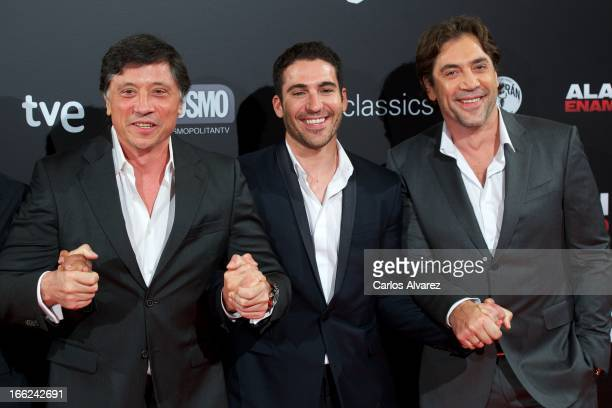Spanish actors Carlos Bardem Miguel Angel Silvestre and Javier Bardem attend the Alacran Enamorado premiere at the Capitol cinema on April 10 2013 in...