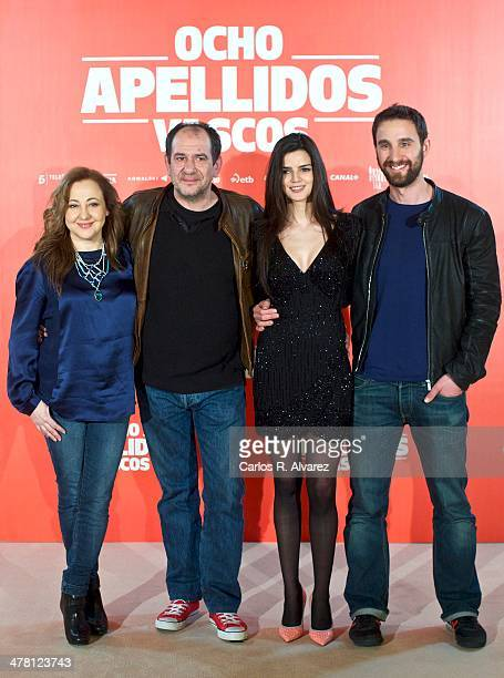 Spanish actors Carmen Machi Karra Elejalde Clara Lago and Dani Rovira attend the 'Ocho Apellidos Vascos' photocall at the Hesperia Hotel on March 12...
