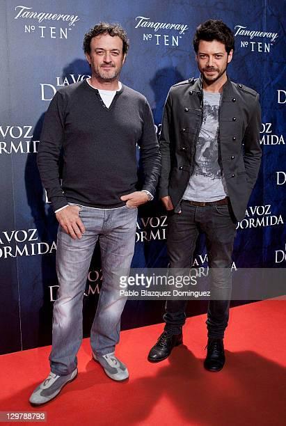 Spanish actors Cesar Vea and Alvaro Morte attends 'La Voz Dormida' Premiere at Capitol Cinema on October 20 2011 in Madrid Spain