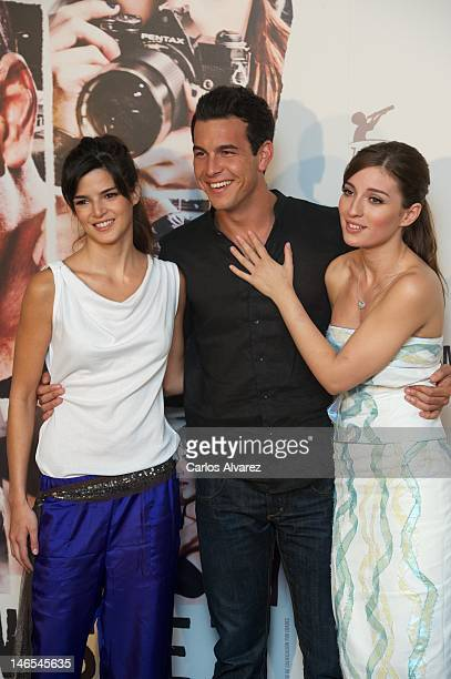 Spanish actors Clara Lago Mario Casas and Maria Valverde attend Tengo Ganas de Ti photocall at ME Hotel on June 19 2012 in Madrid Spain