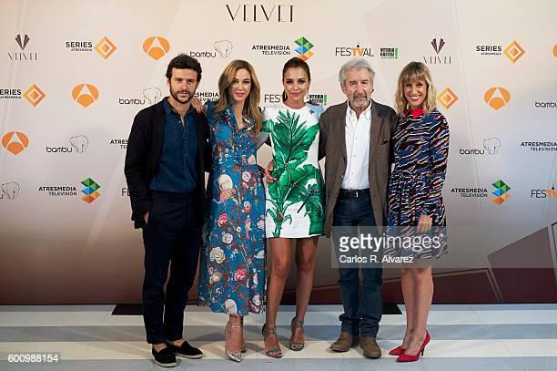Spanish actors Diego Martin Marta Hazas Paula Echevarria Jose Sacristan and Cecilia Freire attend Velvet photocall at Palacio de Congresos during...