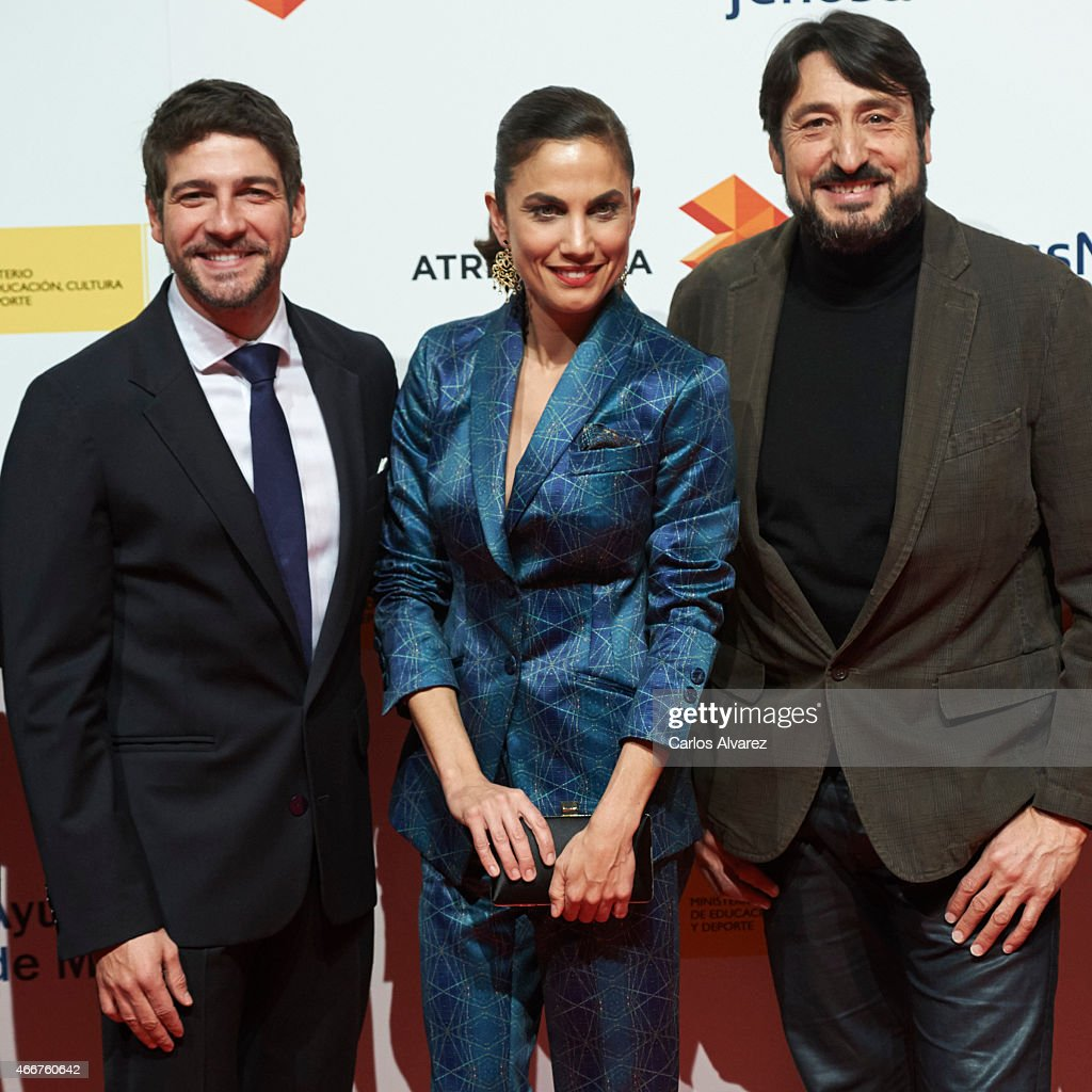 Spanish actors Felix Gomez (L), Toni Acosta (C) and Carmelo Gomez (R) attend the Malaga Film Festival cocktail presentation at Circulo de Bellas Artes on March 18, 2015 in Madrid, Spain.