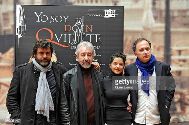 Spanish actors Fernando Soto Jose Sacristan and Almudena Ramos pose with director Luis Bermejo before the press conference for 'Yo soy Don Quijote de...