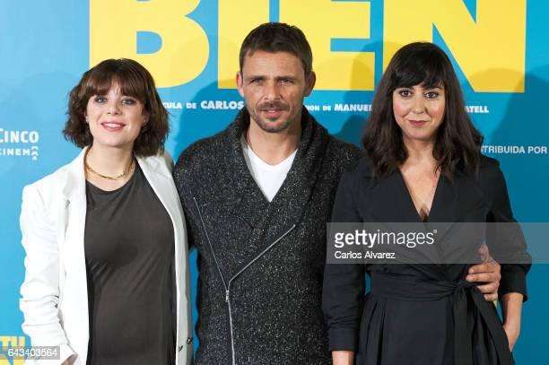 Spanish actors Georgina Amoros Luis Mottola and Carmen Ruiz attend 'Es Por Tu Bien' photocall at Hesperia Hotel on February 21 2017 in Madrid Spain