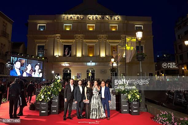 Spanish actors Gines Garcia Millan Carlo D'Ursi Barbara Goenaga Maribel Verdu and director David Canovas attend La Punta del Iceberg premiere at the...