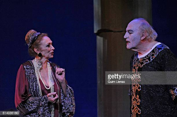 Spanish actors Ines Morales and Manuel de Blas perform during the dress rehearsal of the play 'Salome' by Oscar Wilde on stage at Fernan Gomez...