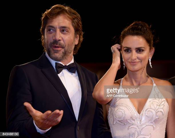 Spanish actors Javier Bardem and Penelope Cruz attend the premiere of the movie 'Loving Pablo' presented out of competition at the 74th Venice Film...
