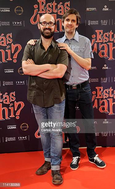Spanish actors Javier Camara and Julian Lopez attend Estas Ahi premiere at Palafox cinema on May 12 2011 in Madrid Spain