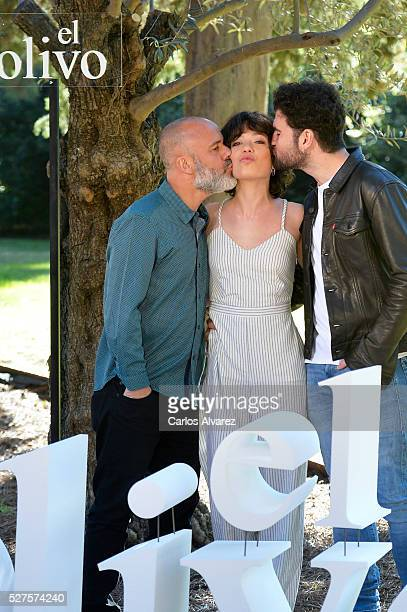 Spanish actors Javier Gutierrez Anna Castillo and Pep Ambros attend El Olivo photocall at the Botanical Garden on May 03 2016 in Madrid Spain