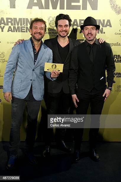 Spanish actors Jose Luis Garcia Jose Manuel Seda y Alex O'Dogherty attend the 'Carmina y Amen' premiere at the Callao cinema on April 28 2014 in...