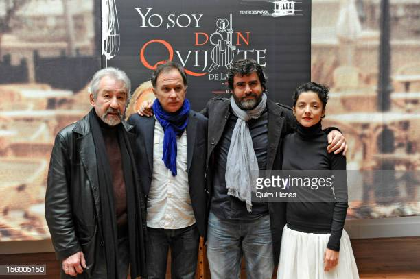 Spanish actors Jose Sacristan Almudena Ramos and Fernando Soto pose with director Luis Bermejo before the press conference for 'Yo soy Don Quijote de...
