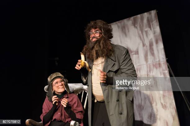 Spanish actors Lana Biba and Txema Perez perform 'Losing It' on stage during the annual Edinburgh Festival Fringe at Zoo Venues on August 6 2017 in...